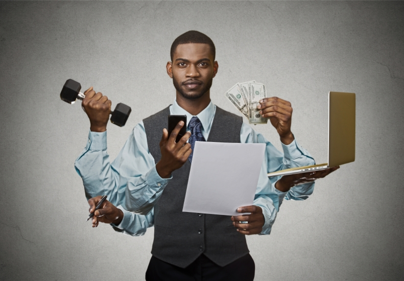 Multitasking business man busy executive