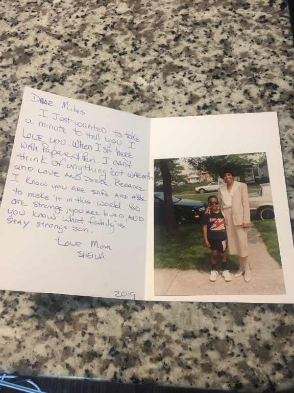 Image of the card received and the included photo of Miles & His Mother.